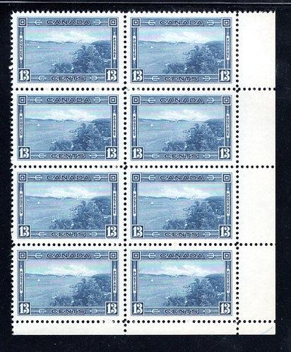 242 Scott, Canada, 13c MNHOG, VF, LR PB of 8, Halifax Harbour