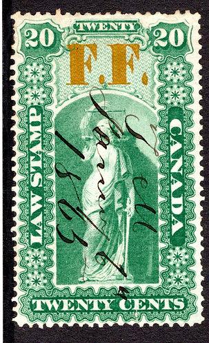 van Dam OL18, 20c used,1864, VF, F.F. (Fee Fund), Ontario Law Stamp