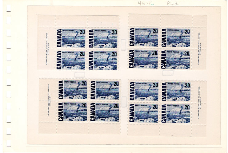 464i Scott - 20c dark blue, Matched Plate Block Set, NF, DEX, PB2