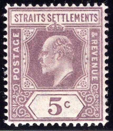 96Straits Settlements, 5Cents, violet, MLHOG, 1902, wmk. 2