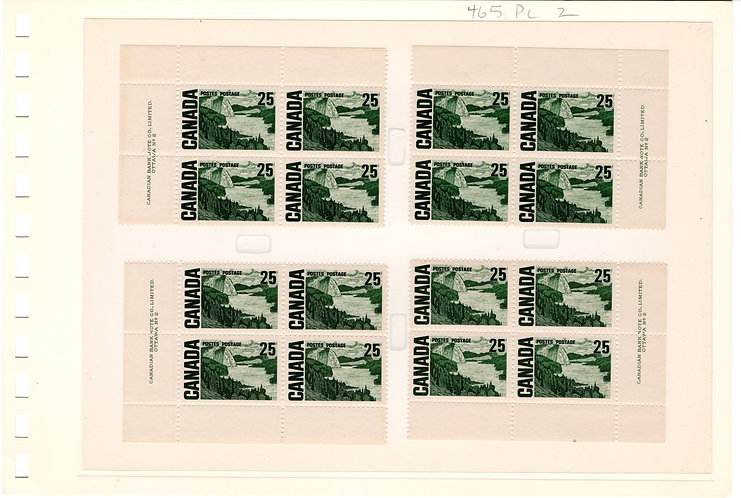 465i Scott - 25c slate green, Matched Plate Block Set, NF, DEX, PB2