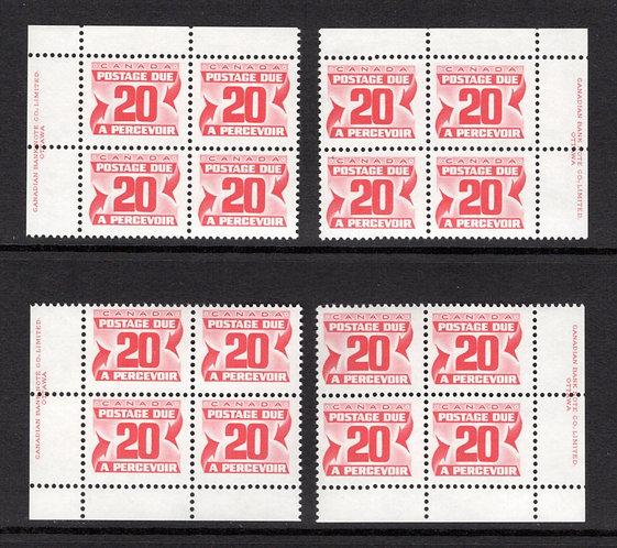 Scott J38, 20c, VF, MNHOG, 4th issue, Set of 4 Plate Blocks of 4,Canada Postage