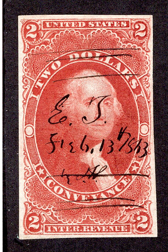 R81a - $2 - Conveyance - red - used - imperf - ms cancel