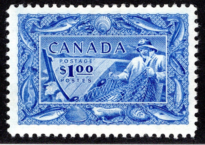 302, MLHOG, VF, Fisherman, Fishing Resources, Canada Postage Stamp