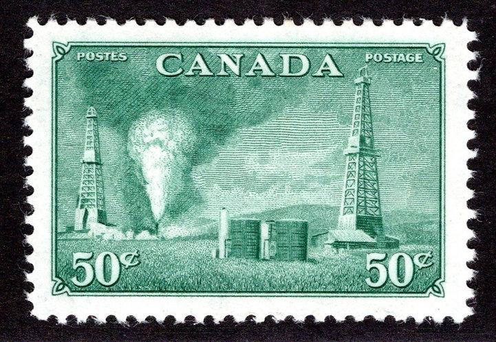 Scott 294, 50c dull green, oil wells, VF/XF, MNHOG