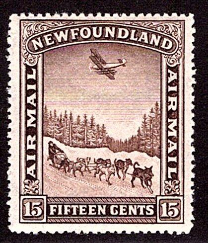 AM10a, NSSC, Newfoundland, 15c, Air Mail, p13.9, F/VF, MNHOG, Dog Sled and Airpl
