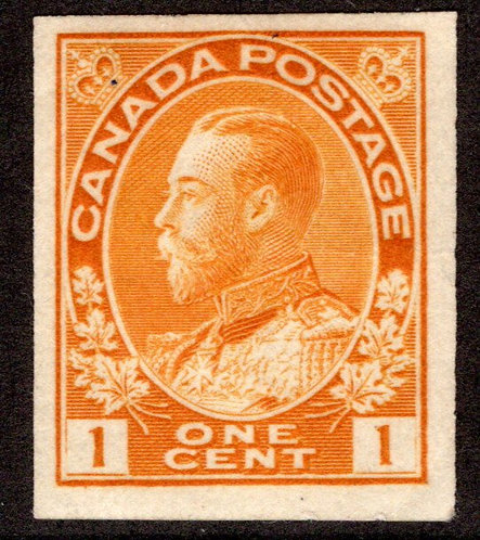 "136, Scott, 1c yellow, MLHOG, KGV ""Admiral"", Imperforate issues, VF, Canada Post"