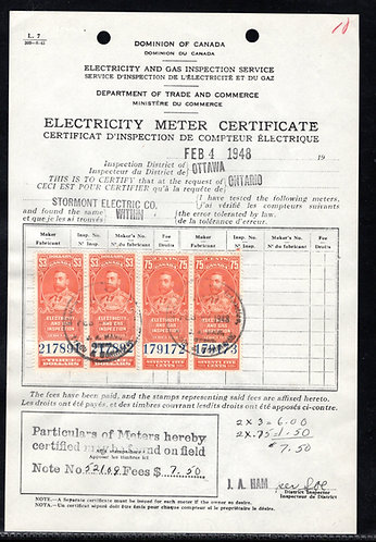 Federal Electricity and Gas Inspection Certificate, Canada, Revenue, FEG3 & 6