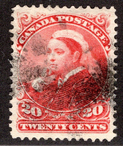 Scott 46, 20c vermillion, VF, Used, Small Queen Issue, 1893, Canada Postage Stam