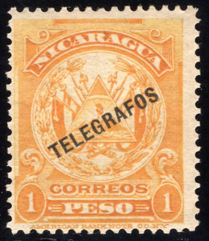 Nicaragua, RH143, H143, Type 37, 1p yellow-orange, MNHOG, - Telegraph Revenue