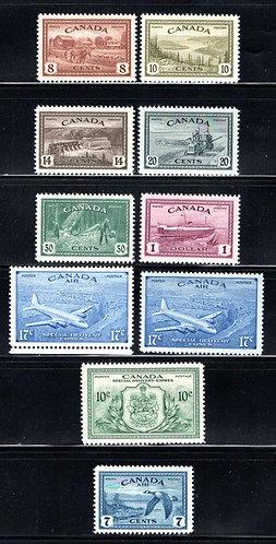 Scott 268-273, C9, E11, CE3-4, 1946 Complete Set, MNHOG, VF, Canada