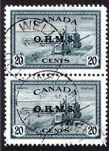 "O8, Scott, 20c Combine, Overprinted ""O.H.M.S."", Used, Vertical Pair, Canada BOB"