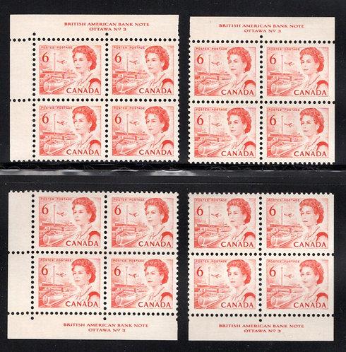 459b, Scott, Centennial, 6c, PB3, Matched Inscription Plate Blocks, DF, Canada