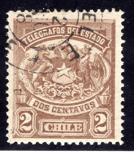 H1, Type I, Chile, 2c, 1883, Telegraph, Telegrafos , perf, Used