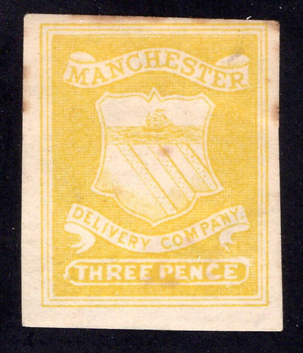 Great Britain, Manchester Delivery Company, 3d, Three Pence, imperf, hinged