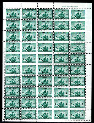 "282, Scott, 4c, Canada, Cabot's ship ""Matthew"", Plate 2, Full Sheet of 50, VF, P"