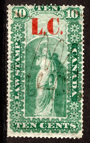 "van Dam QL1a - 10c green & black - no horizontal bar at top of ""L"" in ""LC"" Vari"