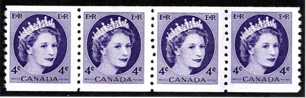 347i, Scott, 4c violet, Jump Strip of 4, MNHOG, QEII Wilding, Canada Postage Sta