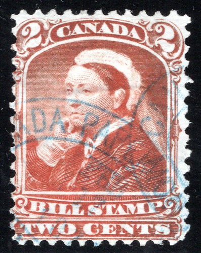FB38, 2c, Used, F, red brown - brown, Third Bill Issue Revenue Stamp,Color Error