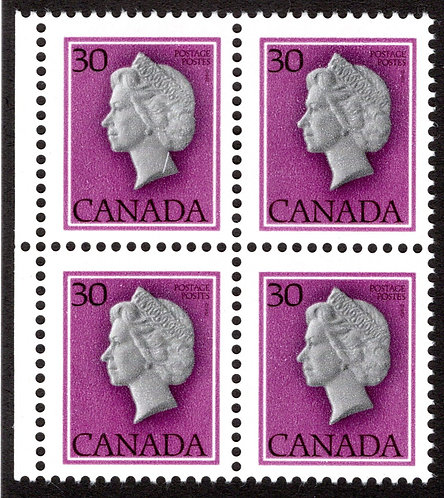 "791T1, 30c QEII, ""untagged, error"", MNHOG, block of 4, Canada Postage Stamps"