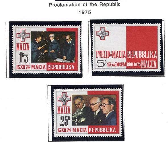 488-490 Malta, MNH Set,Proclamation of the Republic, 1975