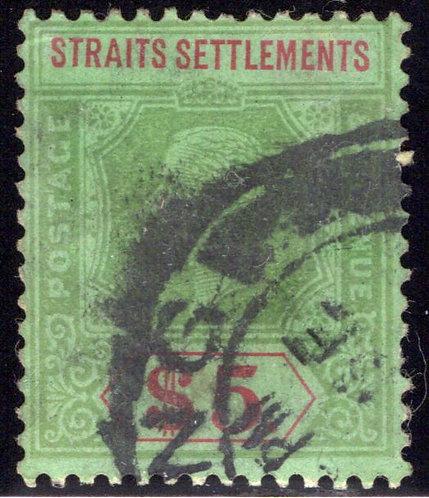 128 Straits Settlements, $5 Grn & Red, Grn, 1911, wmk. 3, PostallyUsed, Singapo