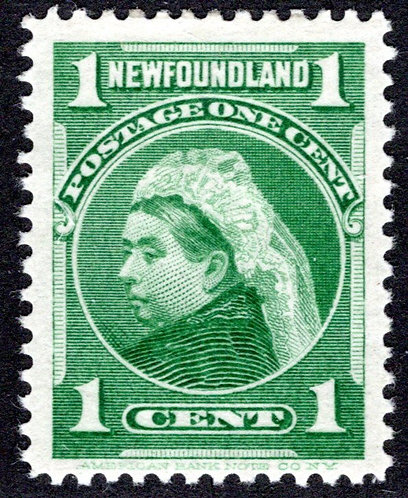 71, NSSC, Newfoundland, 1¢ Queen Victoria, yellow green, MLHOG, VF