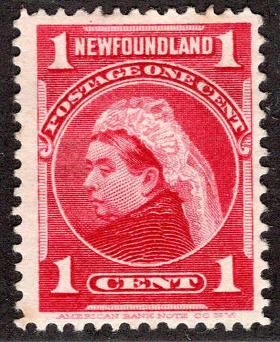 70, NSSC, Newfoundland, 1¢ Queen Victoria, red, MHOG, VF