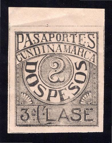 COLOMBIA, Passport, 2 pesos, MNHOG, imperf