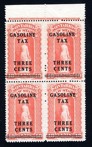 van Dam OGT2 - Ontario Gasoline Tax - 3¢ on 40¢ Red - MNHOG - Block of 4
