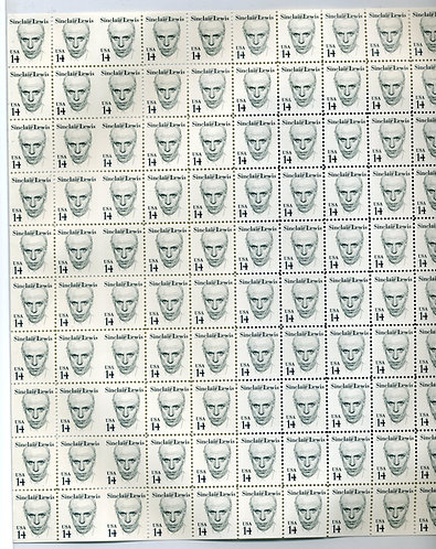 1856c USA - MNH - Sinclair Lewis - Full Sheet of 100 with 10 imperf horiz pairs