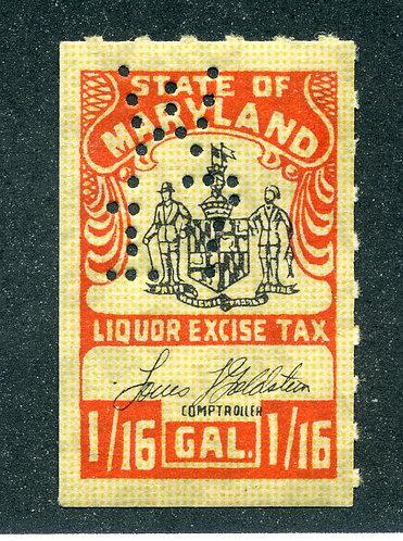 SRS MD L41 - Maryland Liquor Excise Tax - 1/16 Gallon- NHOG Perfin