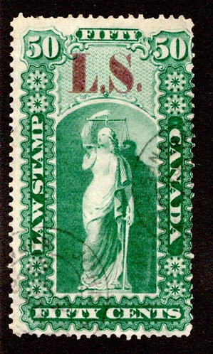 "van Dam OL36a, Canada, brown ""L.S."", Used, Ontario Law Stamp, p.12"