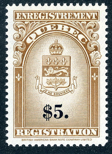van Dam QR36 - $5 brown and black - MNHOG - 1962 Coat of Arms Issue
