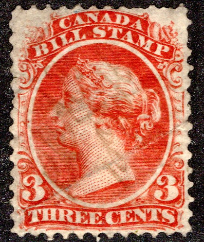van Dam FB20 - 3c - red- Used - 1865 Second Bill Issue