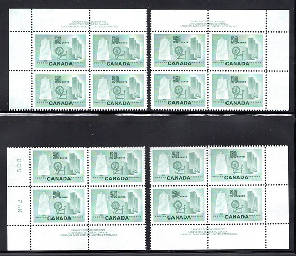 Scott 334, 50c light green, MNHOG, MATCHED PB2 SET, Textile Industry,Canada
