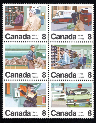 626i, Scott, Canada, 8c Letter Carrier Service, MNHOG, se-tenant block of 6, Pos