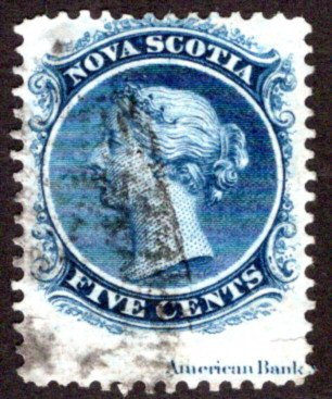 Scott 10, Nova Scotia, imprint, Used, 5 cents, Canada