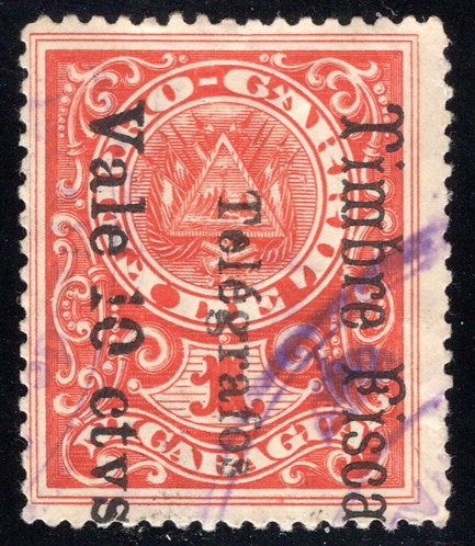 RH160, H160, Types 44, 49 - 10c on 15c on '1' red, variant front and back, large