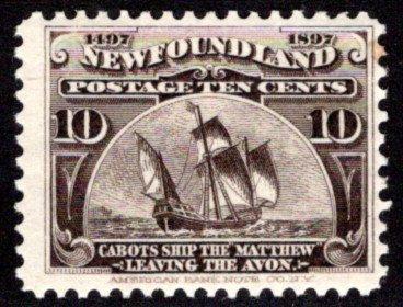 59, NSSC, Newfoundland,10¢ Cabot's Ship, black brown, MHOG, G/VG, Scott 68
