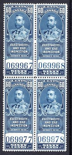 van Dam FEG8, 60c, blue, MNHOG, block of 4, 1930, George V, Electricity and Gas