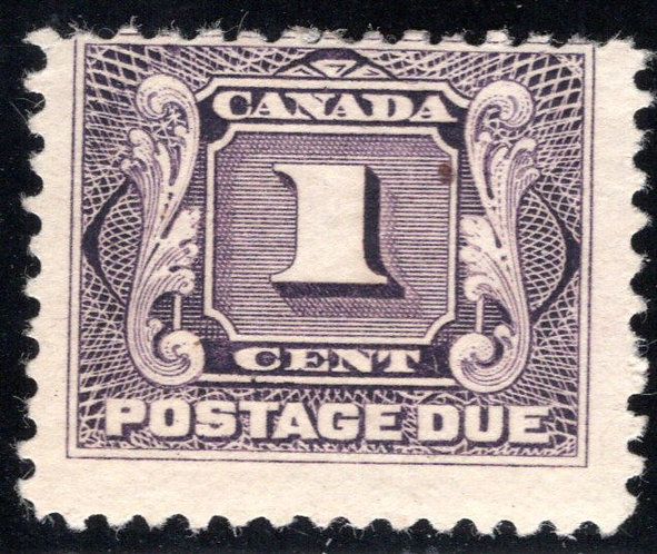 Scott J1, 1c, VG/F, 1st issue, MLHOG, Canada Postage Due