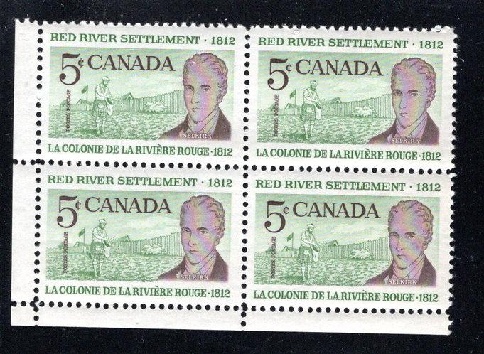 Scott 397ii, Canada, LLBlock of 4, HB, MNH, Red River Settlement