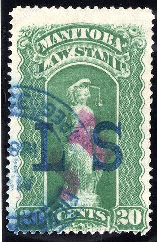"van Dam ML78 - Manitoba Law - 20c ""JF on LS"" Green, Used Revenue Stamp"