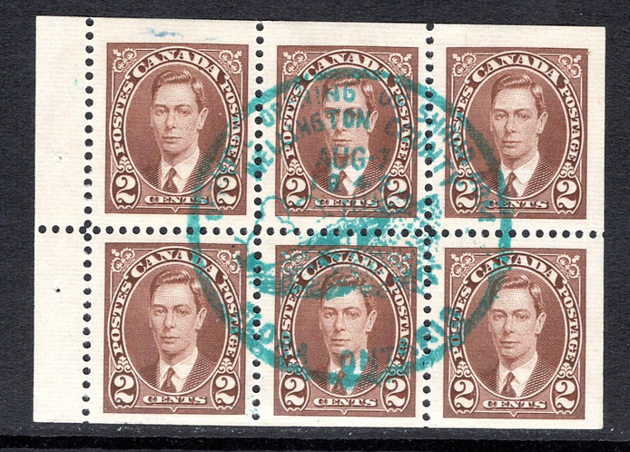 Scott 232b, KGVI Mufti Issue, booklet pane of 6 x 2c,Used, VF, Comm SOTN Cancel