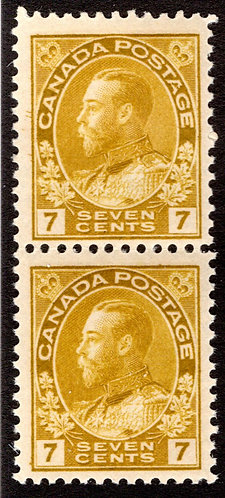 "Scott 113, 7c yellow ochre, F/VF, MNHOG, vertical pair, King George ""Admiral"" Is"