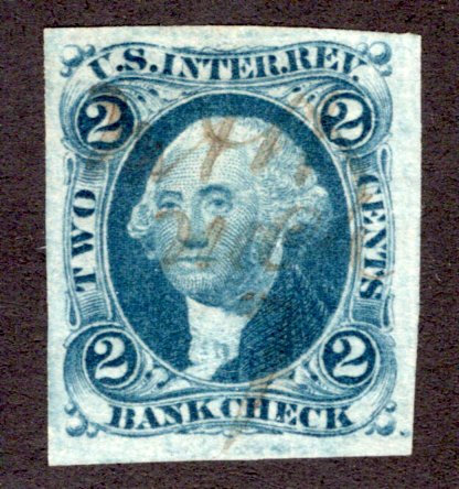 R5a - 2c - Bank Check - Blue - imperf - used - light MS cancel - vf