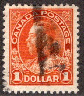 "122b Scott, Canada, $1 Used, F/VF, wet printing, 1923 KGV ""Admiral"" Issue, Posta"
