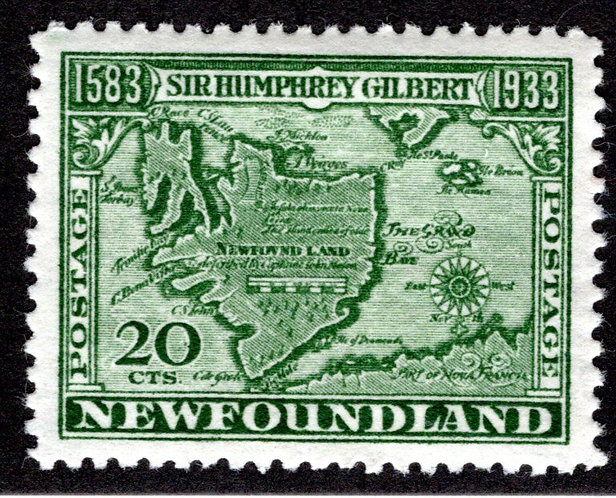 206a, NSSC, Newfoundland, 20c, Superb, MLHOG, Sir Humphrey Gilbert, Map