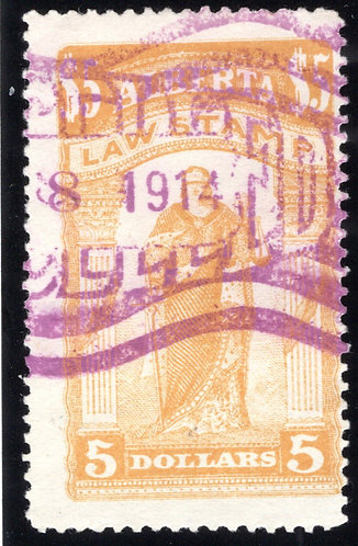 van Dam AL26 - Used, heavily cancelled, VF - $5 yellow ochre - 1907-1910 - Law